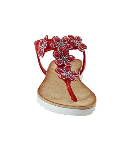Sandale Style Fleuris - No Name - Spéciale Été red