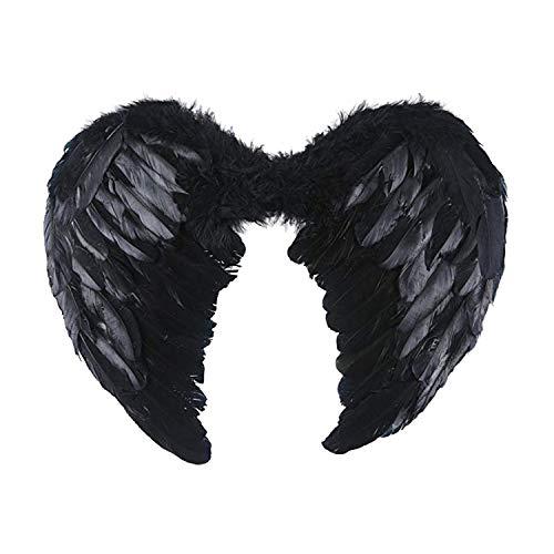 Kostüm Zubehör Engel Flügel - LAEMILIA Halloween Kostüm Zubehör Feder Flügel Engel Satan Fasching Karneval Cosplay Costume Erwachsene Wing Schwarz Weiß