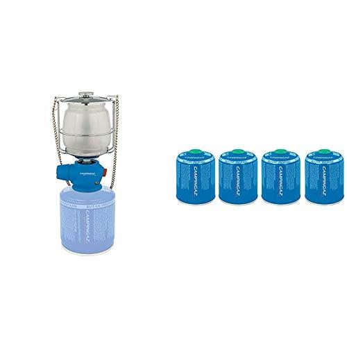 CAMPINGAZ Lampen Lumostar Plus PZ (12 x 10,7 x 19,6 cm) & 4er Pack CV 470 Plus Ventil Gas Kartusche, für Campingkocher, mit Aufsteckventil, Butan-Propan Mischung