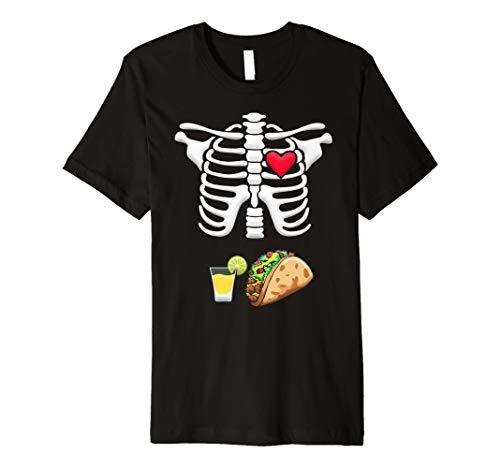 Tacos und Tequila Schwangere Skelett Halloween Shirt