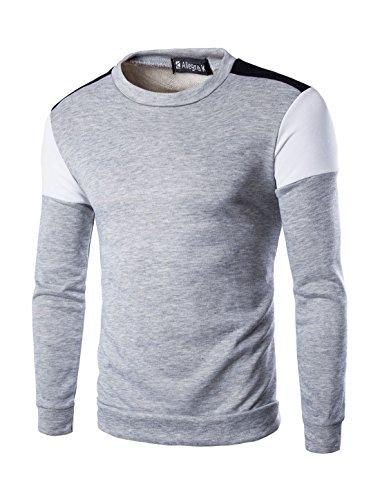 allegra-k-hombre-bloque-color-manga-larga-hombro-panel-camiseta-cuello-en-pico-sintetico-gris-claro-
