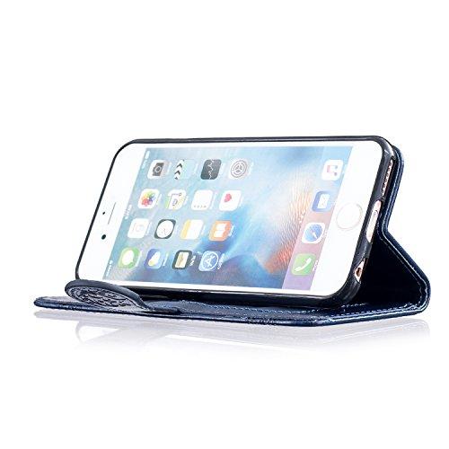 Aeeque® iPhone 6S 4.7 pouces Blanc Etui, Luxe Fille et Fleur Motif Dessin Housse Case en Cuir pour les iPhone 6(2014)/6S(2015) avec Support/ Pochette/ Magnétique Fonction Rétro Fleur Bleu