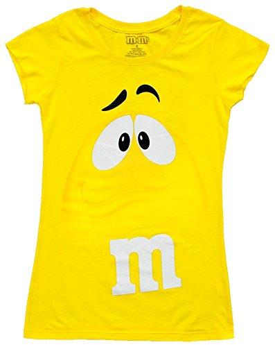 Button-gelb T-shirt (M&M's Chocolate Candy Character Face Yellow T-Shirt (Juniors Medium))