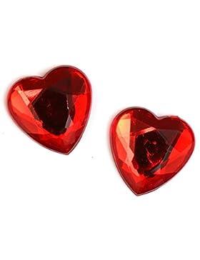 Idin Ohrclips - Rote facettierte Herzen aus Acryl (16 x 16 mm)