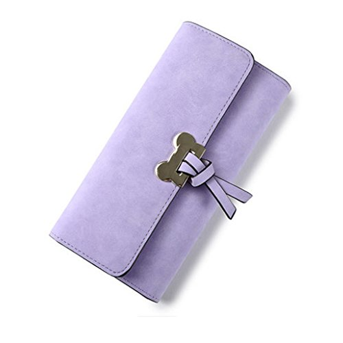 Portafoglio Sveglio Woolala Per Le Donne Nubuck Grande Capacità Multi Slots Slot Carte Porta Carte Holder Borsa Lunga, Blu Purple