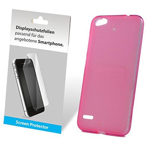 SCHUTZFOLIE + TPU Silikon Bumper Case Tasche Hülle Case Cover Schutz Cover Etui Pink für Medion Life E5006