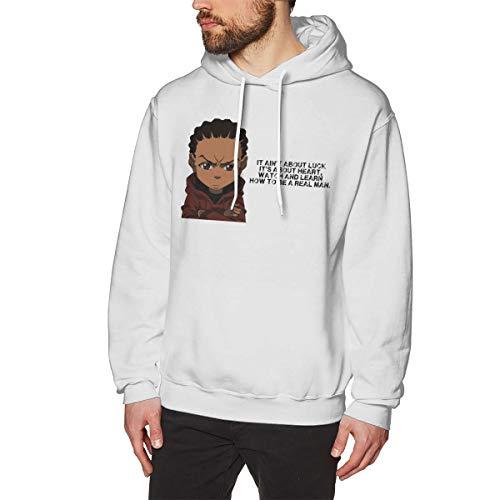 Harrisontdavison Herren Baumwolle Graphic Hoody Komfortabel Boondocks White Langärmliges Sweatshirt 3XL -