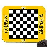 Tappetino per mouse con stampa scacchiera per giocare a scacchi o dama, PERSONALIZZATO con i vostri nomi! - sfondo giallo