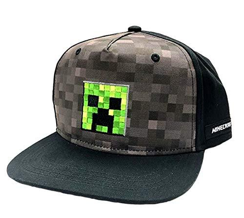 Bioworld Minecraft Kappe Creeper Face Snapback Cap Grau für Jungen und Jugendliche