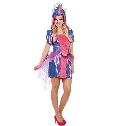 Kostüm Einhorn Gr. 38 Damen Kleid lila/pink Fasching Fantasy Karneval (Kostüme Fantasy Einhorn Erwachsene)