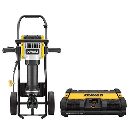 DeWALT Abbruchhammer D25981KX-DE 2100 Watt, 28-mm-Sechskant 62 Joule - Tansportkarre für Abbruchhammer - Tough-System Radio - Spitzmeißel