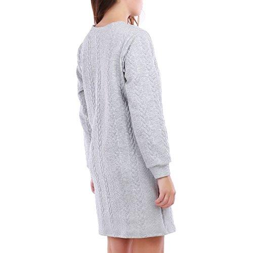 La Modeuse - Robe pull courte à motif torsades Gris