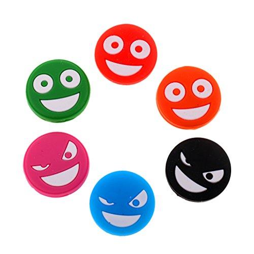 MagiDeal 6 Stück Lustiges Gesicht Tennisschläger Stoßdämpfer Tennis Dämpfer