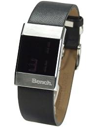 Bench BC0055L - Reloj digital de cuarzo para mujer con correa de acero inoxidable, color plateado