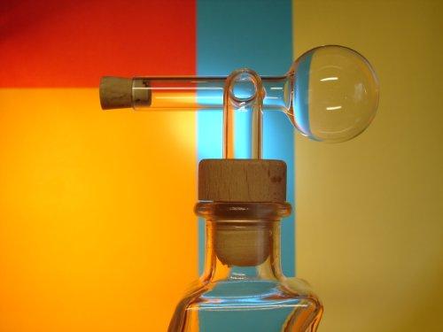 Glasausgießer, Portionierer, Ausgießer, Glaskugelportionierer, Dosierer, Schnapsspender mit Holzgriff, 2cl