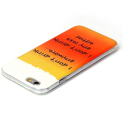 iPhone 6 Coque, iPhone 6S Coque, Lifeturt [ Pivoine ] Housse Anti-dérapante Absorbant Chocs Protection Etui Silicone Gel TPU Bumper Case pour Apple iPhone 6s / iphone 6 4.7 inch E02-Je ne bois plus15173