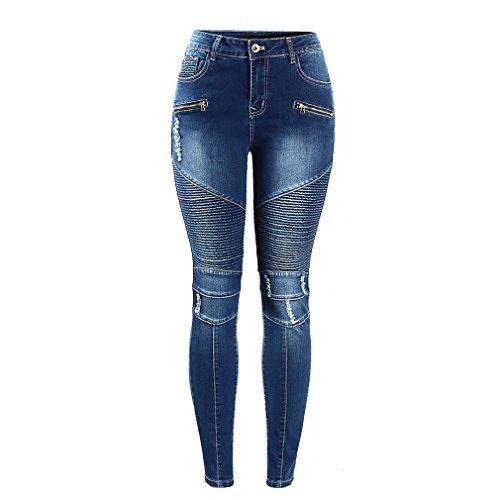 Le Donne Biker Moto Zip Mid High Waist Stretch Skinny Pantaloni Jeans Motore per Donne Blu L
