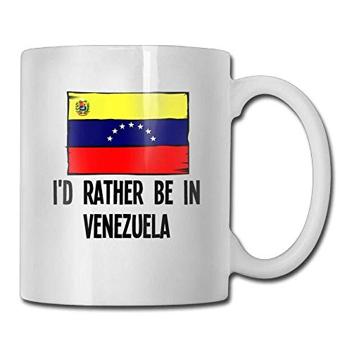 Nisdsgd Id Rather Be In Venezuela Coffee Mugs 11 Oz Engagement Gift Ceramic Tea Cup for Family and Friend 3.14W x 3.74H(8x9.5cm) 16 Oz Tall Iced Tea