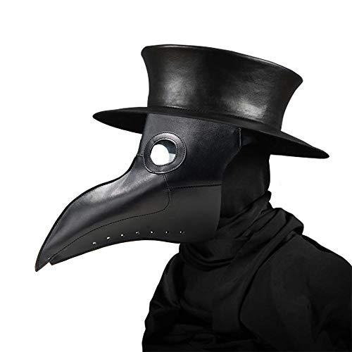 Womdee Plague Doctor Maske, Kunstleder, Schnabel, Punk, Halloween-Kostüm, Requisiten mit Langer Nase Schwarz