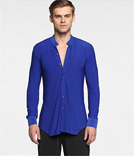Männer Pure Farbe / V Kragen Langarm Shirt / Gesellschaftstanz / Latin Dance Praxis Tops / Tanz Performance Kostüme , m , blue