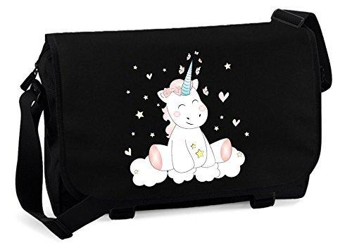 Schultertasche Einhorn cutie (schwarz)