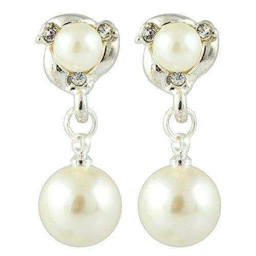 RIVA Clip on Ohrklemme Ohrringe mit Rundschliff Strass Kristall [Creme Elfenbein Perlen] in 18K Weißes Gold Vergoldet, Einfache Moderne Eleganz