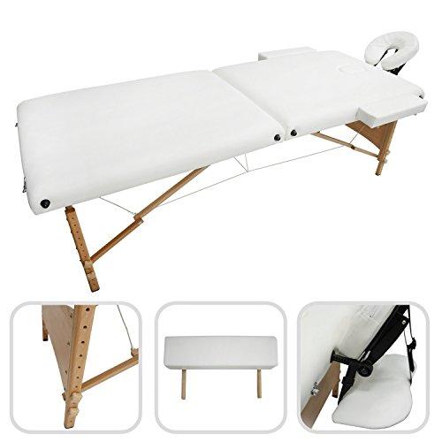 Wasser-tisch-massage (Todeco - Klappbare Massageliege, Professioneller Massagetisch - Größe: 186 x 71 x 62 cm - Höhe: Verstellbar 62-83 cm - Weiß, Holzbeine, 2 klappbare Teile, mit Kopfstütze, Armstütze und Tragetasche)