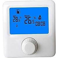 FLAMEER Termostato de Pared RF Inalámbrico Calefacción Programable Cerradura de Seguridad para Niños Pantalla ...