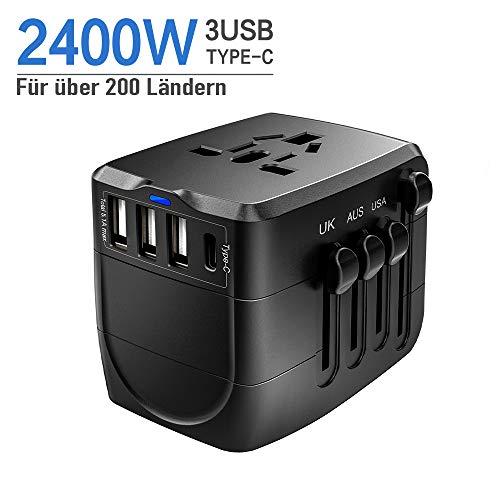 Reiseadapter, 2400W Weltweit Reiseadapter, Typ-C Reisestecker, 3USB Stromadapter unterstützt Hochleistungsgeräte für Deutschland/USA/EU/UK/Japan/Kanada/Thailand über 200 Länder, Schwarz