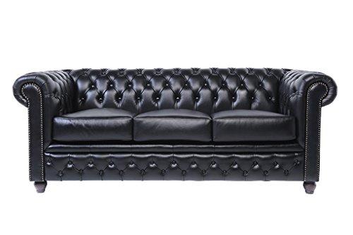 Chesterfield Showroom - Original Chesterfield Sofa / Couch - 1+3-Sitzer - Echtes Leder handgewischt - Schwarz - 3