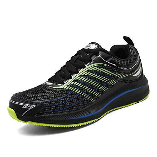SOLLOMENSI Uomo Scarpe da Ginnastica Corsa Scarpe Sportive e Sneaker Casual Correre Indoor e Outdoor Multisport Trail Running Fitness 44 EU NeroVerde