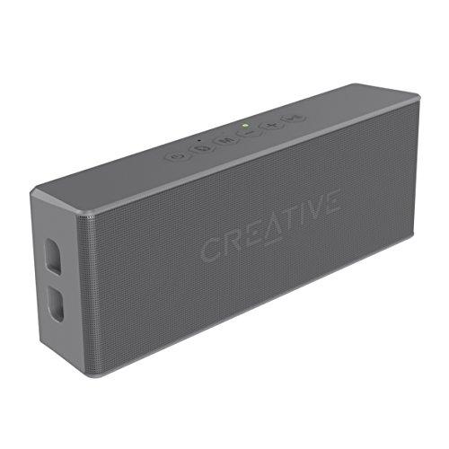 Creative MUVO 2 - Leistungsstarker, kompakter, wetterfester Wireless Bluetooth Lautsprecher (für Apple iOS/Android Smartphone, Tablet/MP3) grau