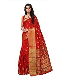 Fabwomen Sarees Zari Work Red And Red Coloured Kanjeevaram Silk Fashion Party Wear Women's Saree/Sari With Blouse...
