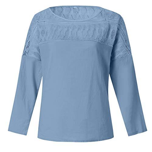 QingJiu Damen T-Shirt Frauen Coole Mode Langarm Bluse Spitze Splice Patchwork Baumwolle Top Blusen