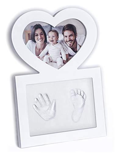 Baby Hand- und Fußabdruck Set mit hochwertigem Herz-Bilderrahmen für Mädchen und Jungen