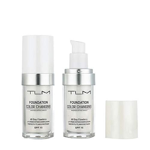 TIREOW Erwärmende Hautfarbe flüssige Grundierung Farbwechsel Foundation Makeup Base Nude Face Flüssiger Abdeckcreme (Mixer Loreal)