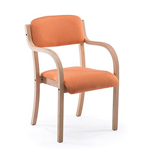 C-K-P Esszimmerstuhl aus Massivem Holz Klassischer Coffee Shop Stuhl Moderner minimalistischer Lounge Sessel 83X52x48cm, 9 Farben (Farbe : 48cmX52cmX64cm, größe : Orange) -