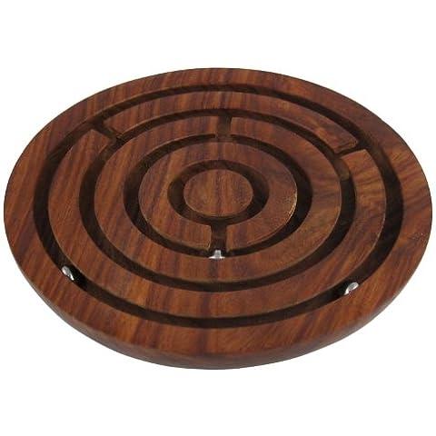 Artesanal laberinto de madera rompecabezas de la bola laberinto - juegos únicos para los niños - juguetes de viaje para niños - diámetro de 15,2 cm