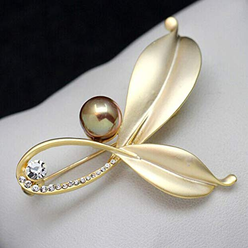 MYHMG Brosche Retro Fashion Leaves Simulated Pearl Brooch Temperament Crystal Brooch Female Party Jewelry Accessories -