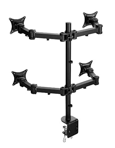 Lavolta Monitor Stand Arm Pole for 4x Monitor LCD LED TV Screen Display Flat Panel Plasma - 360° Rotate and Swivel +/- 15° Tilt Adjustment - Fully Adjustable - Heavy Duty Desk Clamp - Quad