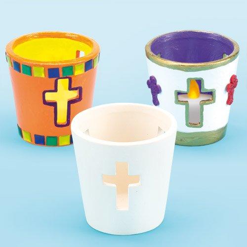 Baker Ross Teelichthalter Kreuz zum Selbstdekorieren, 4 Stück