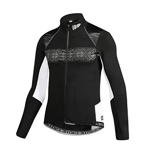 Santic Chaqueta Ciclismo Hombre Chaqueta Bicicleta Invierno Chaquetas Bici Chaquetas MTB Fleece adentro Negro EU M