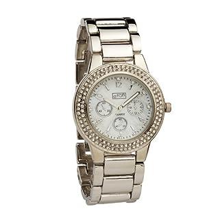 Eton señoras Silvertone cristal bisel Mop Dial, correa de pulsera vestido reloj 3142j