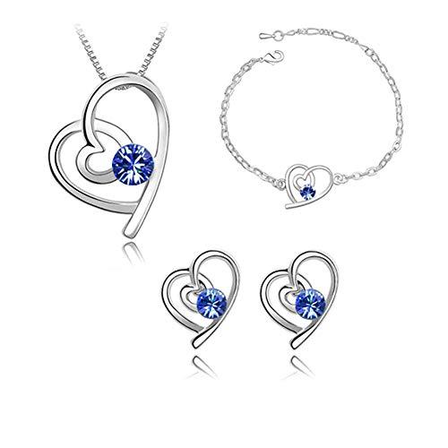 DaoRier Halskette Ohrringe Armband Set, Herzform-Juwel Anhänger, Damen Schmuck Zubehör Geburtstag Geschenk (Blau)