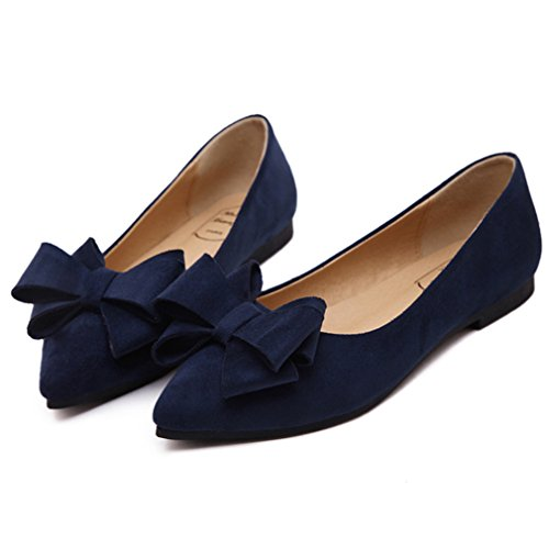 Damen Bequem Spitz Mit On Schuhe Dunkelblau Nubukleder Zehen Slip Schleife Slipper Süß Verziert Leicht Elegant rEq48r