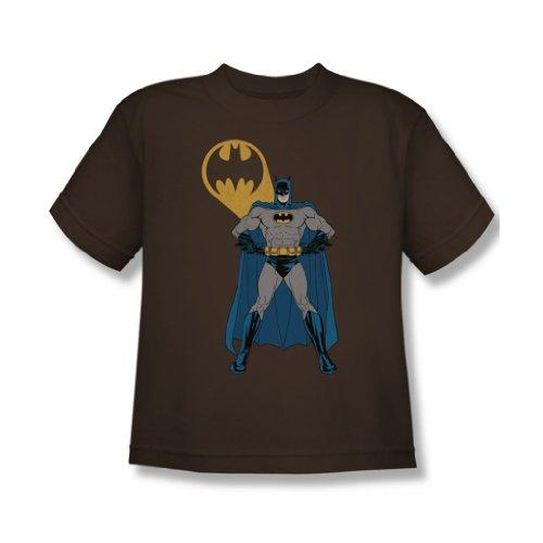 Batman - Arms Akimbo Fledermäuse Jugend T-Shirt in Kaffee Coffee