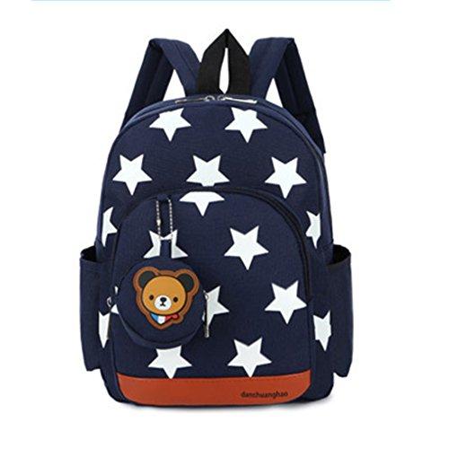 Gwell Sac à Dos Enfant Sac Maternelle Fille Garçons Motif étoile avec Pendentif Ours Bleu foncé
