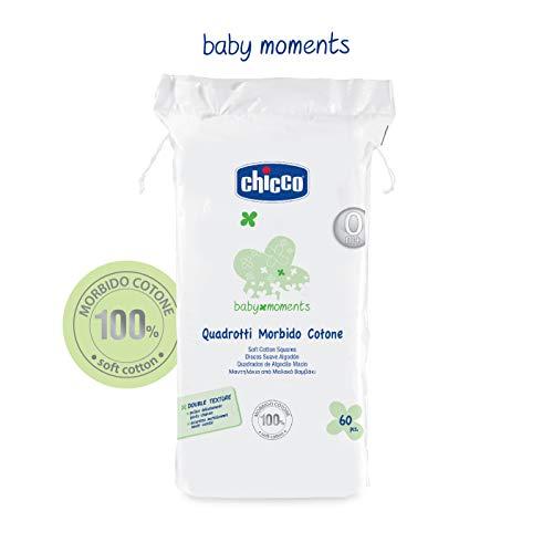 Chicco Quadrate aus Baumwolle, Weiß-1 Pack von 60Stück