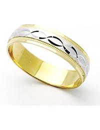 Little Treasures 14 ct Two Tone Gold 5MM Diamond Cut Wedding Band