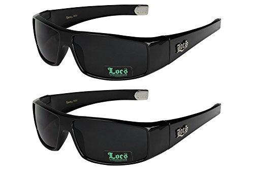 brillen Motorradbrille Sportbrille Radbrille - 1x Locs 9035 schwarz und 1x Locs 9035 schwarz (Dunkle Schwarze Sonnenbrille)